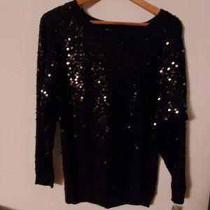 INC Black Sequin Long Sleeve Blouse XS NWT